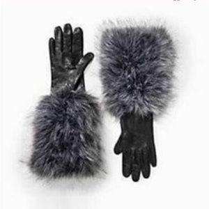 Kate Spade Black Leather Gloves w/ Faux-Fur XS NEW